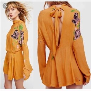 New Free People Gemma Marigold Mini Dress Tunic